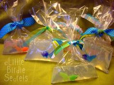 Plastic Goldfish in homemade bag soaps for school fairs or carnivals! Please DO NOT use real fish at your carnival!