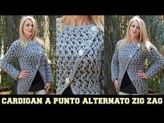 CARDIGAN A PUNTO ALTERNATO A ZIG ZAG -  NUNZIA VALENTI - YouTube