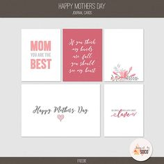 Free Mother's Day Journal Cards