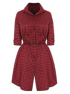 Check Button Up Shirt Dress Red Shirt Dress, Button Down Shirt Dress, Shirt Outfit, Button Up Shirts, Dress Red, Tartan Shirt, Tartan Dress, Red Plaid, Collar Shirts