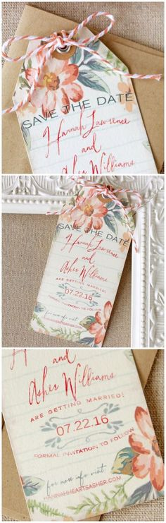 Peach Floral Save the Date