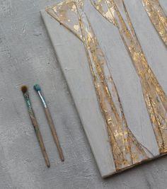 Foglia oro pittura astratta oro 40 x 40 x 1 5cm immagine