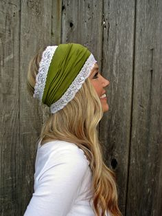 Moss Green Rayon Cotton Jersey Knit Headband with Stretch Lace Trim on Etsy, $15.00