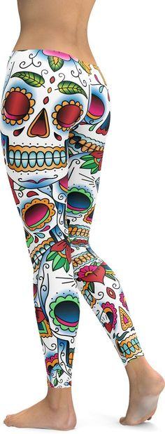 Stylish, durable, and a hot day of the dead - sugar skull leggings. These polyester/spandex leggings are made of a comfortable microfiber yarn, and they'll never lose their stretch. • Fabric is 82% po