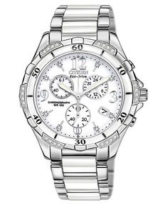 Citizen Watch, Women's Chronograph Eco-Drive Diamond Accent Stainless Steel and White Ceramic Bracelet 40mm FB1230-50A