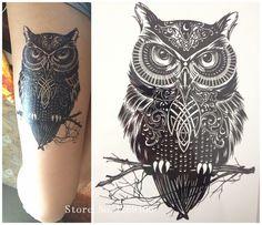 2016 NUEVA Moda Muestra BÚHO 21X15 CM de Tamaño Fresco Sexy Belleza Tatuaje Temporal Pegatinas Tatuaje Impermeable Caliente