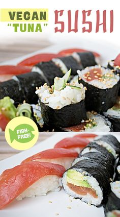 """Vegan """"Tuna"""" Sushi made with """"Tomato Sushi"""" – Along with the """"Tomato Sushi,"""" we used cucumber sliced thin from our mandolin along with avocado. The results were absolutely delicious! 