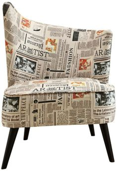 Flared Back Right Newspaper Fabric 25-Inch-W Accent Chair - #EU2N901 - Euro Style Lighting