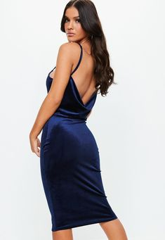 92e69546 Missguided - Navy Cowl Velvet Strappy Midi Dress Cowl Neck, Missguided,  Backless, Turtleneck