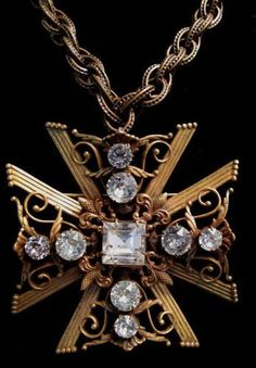 Joseff of Hollywood Jeweled Maltese Cross Pendant Necklace or Pin