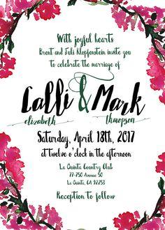 Bougainvillea Wedding Invite Pink Watercolor Printable