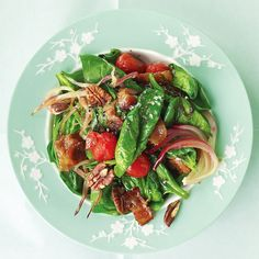 The bacon and the pecans add crunch to this delicious salad. You can substitute baby spinach in this recipe for a more tender bite, but we like how the flat-leaf wilts.
