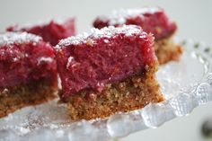 "Passion 4 baking "" Raspberry Bars (almond base or pastry base, lemon raspberry filling, dusted with powdered sugar).  ~ 2 variations of this cookie."