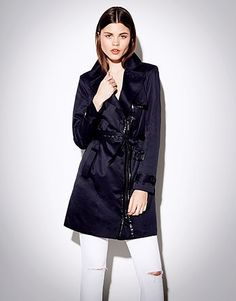 Womens navy trench coat from Lipsy - £79 at ClothingByColour.com