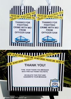 Police Birthday Party Favor Tags