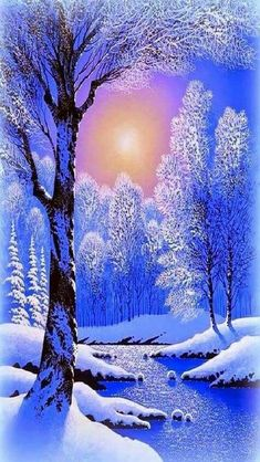 Winter: Winter Dawn Xmas New Year Paintings Attractions Dreams Blue Love Foure Seasons Nature Creek Landscapes Cool Scenery Snow White Trees High Quality Wallpaper for HD High Definition Wide Widescreen WUXGA WXGA WGA Standar Winter Sunset, Winter Scenery, Winter Pictures, Nature Pictures, Winter Photography, Landscape Photography, Imagen Natural, Art Sur Toile, Winter Painting