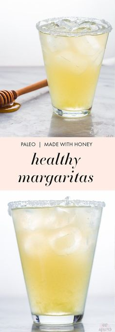 These paleo healthy margaritas are made with simple ingredients: lime juice, honey, water, and booze. Sugar free and paleo (I mean... tequila is pretty much paleo, right?), they're the closest thing t