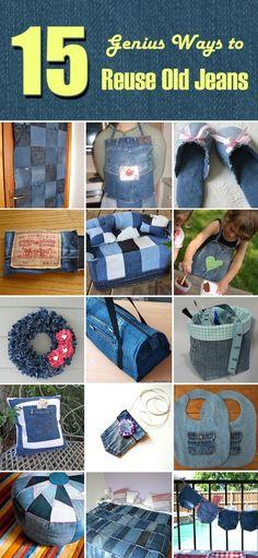15 Genius Ways to Reuse Old Jeans                                                                                                                                                                                 More