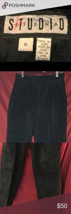 Black suede baggy slacks Baggy suede slacks from the 90s Pants Trousers