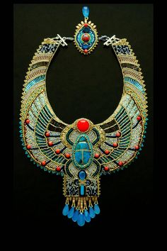 Items similar to Egyptian Scarab Necklace - CUSTOM ORDER - Bead Embroidered Necklace, Statement Necklace, Collar Necklace on Etsy Ancient Egyptian Jewelry, Egyptian Scarab, Antique Jewelry, Beaded Jewelry, Beaded Necklace, Gemstone Jewelry, Silver Jewelry, Bead Jewellery, Locket Necklace