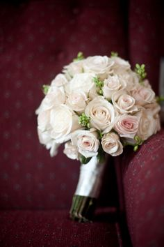 Ivory, pink rose bouquet. Bride flowers. Natural arrangement