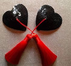 Blackened heart red tassel pasties https://www.etsy.com/uk/listing/581491512/black-heart-nipple-tassels-nipple
