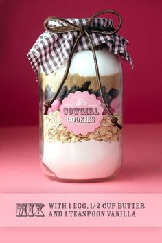 Cookie mix in a jar - 1 1/3 cup all purpose flour, spooned into measuring cup  leveled  1 teaspoon baking powder  1 teaspoon baking soda  1/4 teaspoon salt  1 cup cooking oats  3/4 cup m  3/4 cup semi-sweet chocolate chips  1/2 cup brown sugar, packed  1/2 cup white sugar  1/3  1/2 cup chopped pecans -  it!