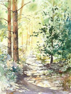 """Résultat de recherche d'images pour """"watercolour forest paintings"""""""