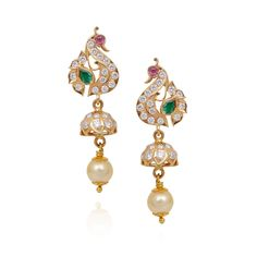 Earrings | Fancy Peacock Hanging With Pearl Drop Diamond Jimmiki | GRT Jewellers