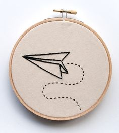 Paper Airplane Embroidered Wall Art | Quirky, cute, and just $23
