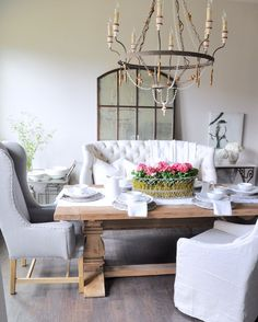 Beautiful dining table with tufted settee
