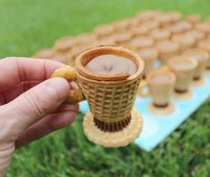 "Chocolate filled Peanut butter cup and vanilla wafer cookie ""teacups"""