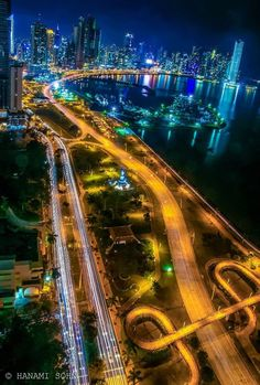 Panama City at night. Isn't it beautiful?  Great place to go Scuba Diving...   Were my kids got certified to dive..