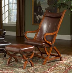 Hunter Chair w/ Ottoman (Tobacco/ Brown) Largo Furniture in Accent Chairs. With a great finish and unique style, the Hunter Chair w/ Ottoman (Tobacco/ Brown) by Largo Furniture creates a casual inviting atmosphere perfect for any living area. Brown Leather Chairs, Leather Chair With Ottoman, Chair And Ottoman Set, Swivel Chair, Chair Cushions, Sofa Set, Red Leather, Armchair, Largo Furniture
