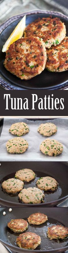 Quick EASY healthy Tuna Patties! Easy to make, and easy on the budget. Best thing you can make with canned tuna. Your kids will LOVE them. On SimplyRecipes.com #beeffoodrecipes