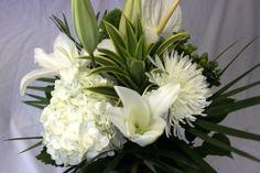 Wonderful variety of White and Green Flowers, $40.00  www.dutchmillflowershop.com