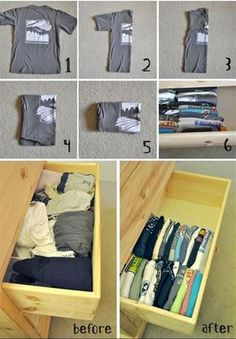 Organizing Life Hacks How to fold and organize your t-shirts, to save closet space.How to fold and organize your t-shirts, to save closet space. Organisation Hacks, Storage Organization, Diy Storage, Organizing Drawers, Clothing Organization, Clothing Hacks, Extra Storage, Organize Dresser Drawers, Closet Clothing