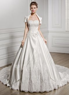 Ball-Gown Sweetheart Cathedral Train Satin Wedding Dress With Beading Appliques Lace Flower(s) Sequins (002056586) - JJsHouse  fantastic.  http://www.jjshouse.com/Ball-Gown-Sweetheart-Cathedral-Train-Satin-Wedding-Dress-With-Beading-Appliques-Lace-Flower-S-Sequins-002056586-g56586