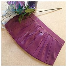 H&M | Purple Faux Leather Clutch Excellent used condition. One zippered compartment and two open pockets inside. Dimensions: 12.5 inches long (side to side) x 7 inches tall. Opens to 5.5 inches wide. H&M Bags Clutches & Wristlets