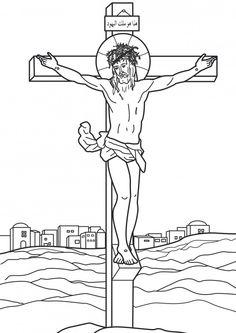 Laminas de La Biblia Para Colorear ,Imprimir y Recortar.: Jesús Crucificado