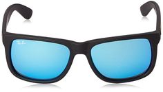 Ray-Ban 0RB4165 Square Sunglasses, Rubber Green Mirror & Blue, 55 mm