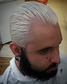 Finalmente Branco !!!! Obg amor <3 @pinkdih  #haircut #beard #beardman #whitehair #alargador #piercings #tattoo #sp #zn #011 #cool #gangsta #barba #ilovemibeard #brasil #brazil #boanoite #goodnigth #followme