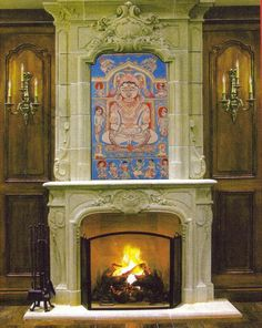 Mahavira painting on fireplace
