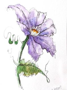 """Original artwork of a purple clematis flower rendered in pen, ink and watercolor. It is titled Purple Clematis Flower"""" and is signed and dated at the bottom with the title on the back. It is painted with vivid shades of purple with a large dancing green tendril and a single leaf."""