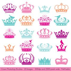Crown Photoshop Brushes, Crown Silhouettes Photoshop Brushes - Commercial and Personal Use. $8.00, via Etsy.