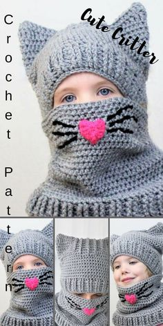 Crochet Hats What an adorable little Critter hat/ cowl for your little one. I am thinking this would be great to make the grandkids for Valentines Day. Crochet Animal Hats, Crochet Kids Hats, Crochet Beanie, Crochet Crafts, Crochet Projects, Knit Crochet, Crochet Shawl, Diy Crafts, Kids Patterns