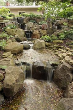 pondless waterfalls for the landscape, gardening, outdoor living, ponds water features, A cascading waterfall draws visitors to the front door of this gracious home