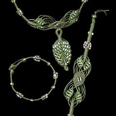 The Beadery - Jewelry Necklace Kit - Micro Macrame - Leaves