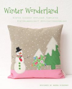 Beautiful Christmas applique templates: snowy houses a snowman in the woods + singing angels