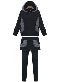 Black Hooded Diamond Patterned Top With Legging 33.33